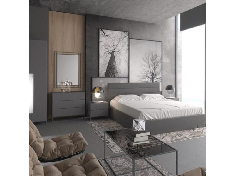 Ліжко Gerbor Мерс МДФ LOZ 160 | 160x200/Антрацит/Елегантний сірий софт тач