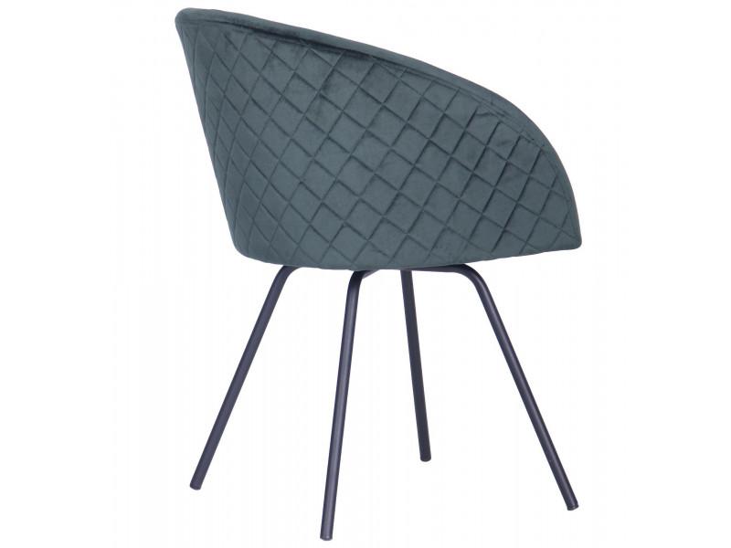 Крісло поворотне Sacramento чорний / велюр темно-зелений