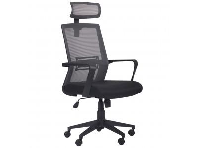 Крісло Neon HR сидіння Саванна nova Black 19 / спинка Сітка сіра