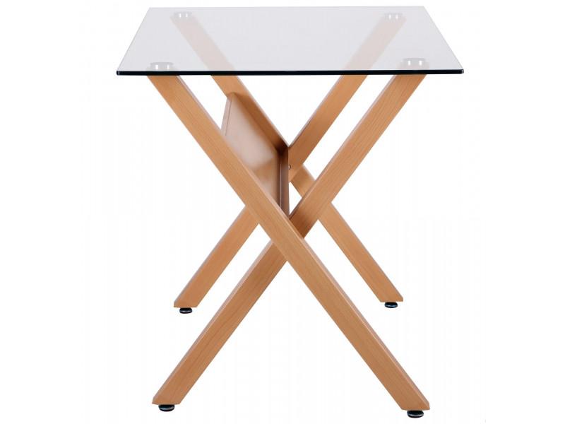 Стіл обідній Maple бук / скло прозоре