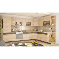 Кухня Грета Угловая 3.5х2.5 м (Дуб самоа / Ривера труфель)