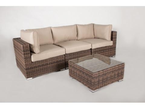 Модульный диван тройка + столик Раунд искусственный ротанг коричневый
