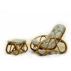 Кресло с Пуфом Set натуральный ротанг ореховый