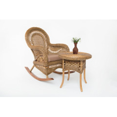 Кресло-качалка с приставным столиком Виктория натуральный ротанг