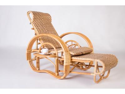 Кресло шезлонг Одиссей натуральный ротанг медовый