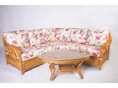 Кутовий диван Асканія зі столиком натуральний ротанг королівський дуб