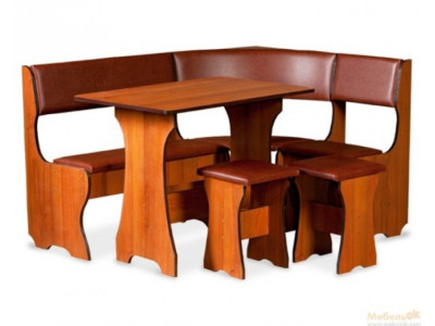 Кухонний кут Економ-1+нерозкладний стіл+2 табурети